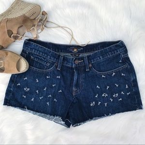 LUCKY BRAND   Embroidered Jean Shorts